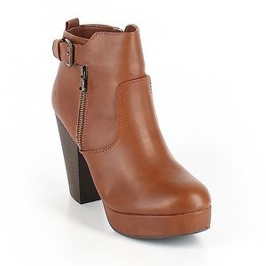 Like New Material Girl Brown Buckle Zip Booties